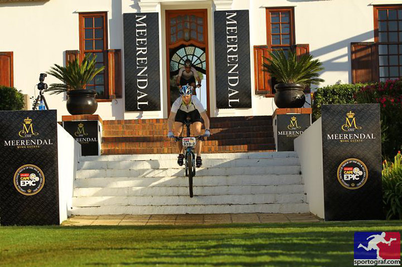 Flying down the stairs at Meerandal Mansion House during the Cape Epic