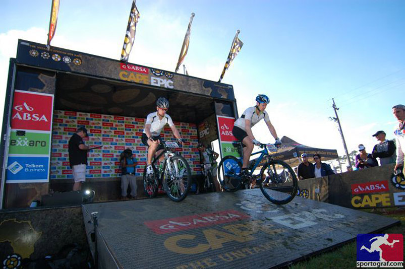 On the start ramp for the Cape Epic prologue
